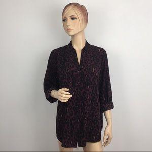 Talbots Leopard Print Roll-up Sleeve Shirt XL